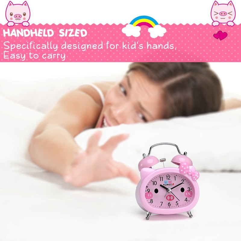 Australia Plumeet Twin Bell Alarm Clock for Kids, Silent Non-Ticking Cartoon Quartz Loud Alarm Clock for Girls, Cute, Handheld Sized, Backlight, Battery Operated (Pink)