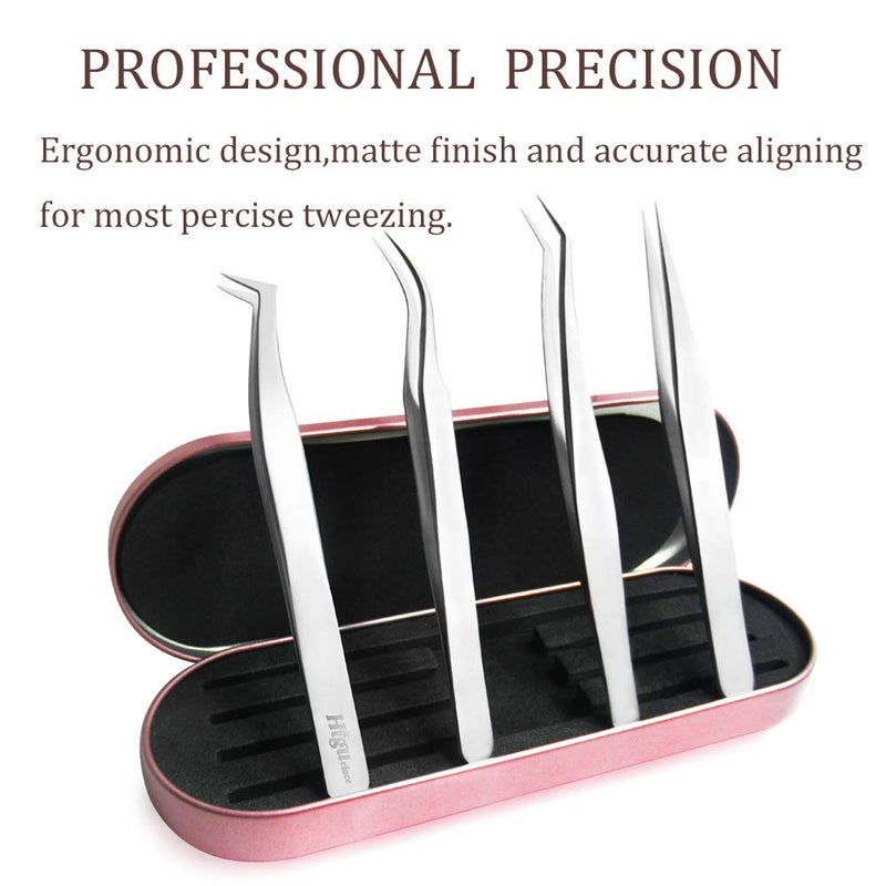 4PCS Eyelash Extension Tweezers Tools Kit for Volume Flase Lashes Precision Stainless Steel with Aluminum Storage Case Higuclace