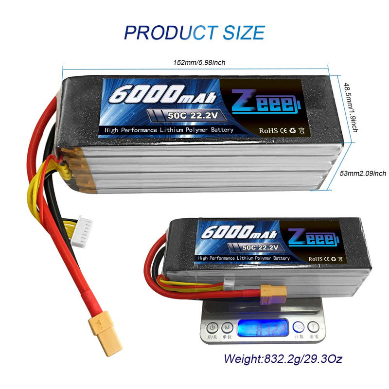 Australia Zeee 6000mAh 50C 22.2V 6S Softcase Lipo Battery with XT90(Upgrade XT60/EC5 Plug) for DJI Airplane RC Quadcopter Helicopter Car Truck Boat Hobby