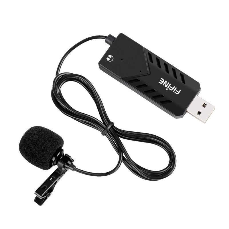 Australia USB Lavalier Lapel Microphone,Fifine Clip-on Cardioid Condenser Computer mic Plug and Play USB Microphone with Sound Card for PC and Mac.(K053)