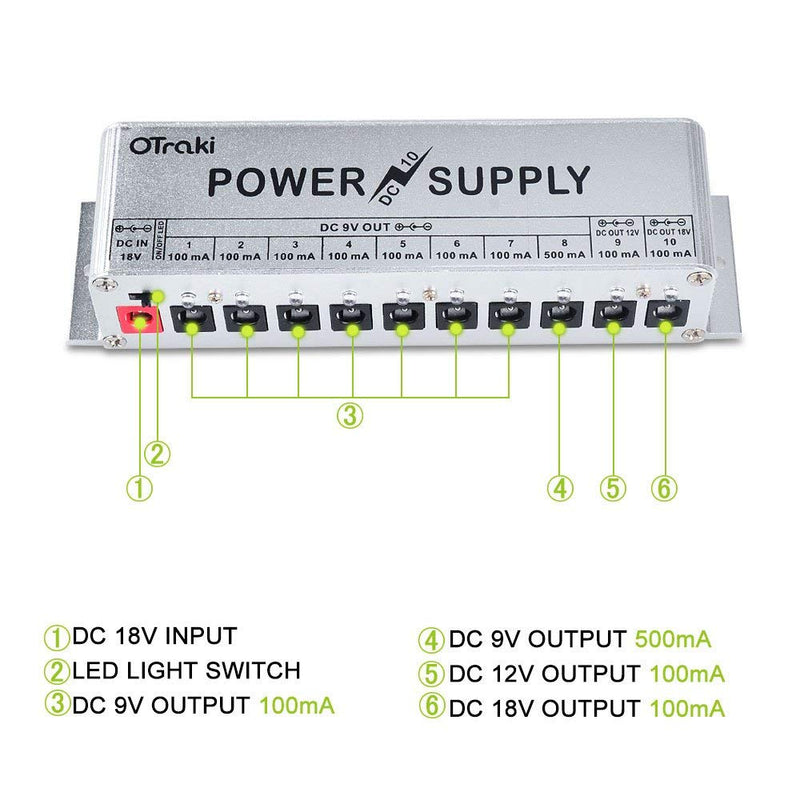 OTraki 9V Power Supply for Guitar Pedals 10 Ports DC 18V/12V/9V 100mA/500mA 3Way Universal Isolated Effect Pedal Board Power Supplies with Smart Short Circuit and Over Current Protection