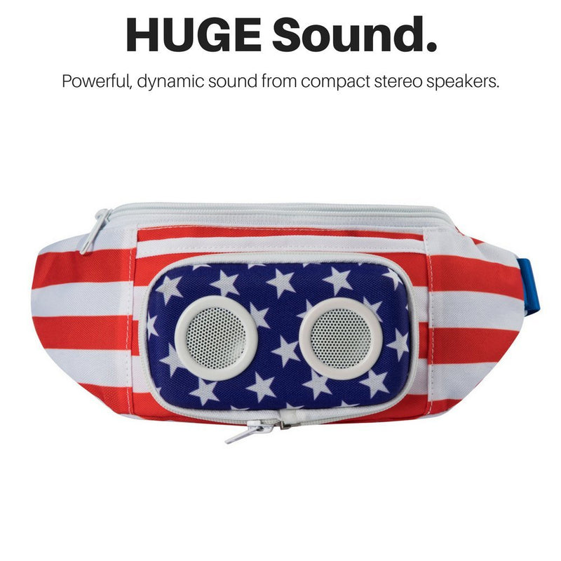 725ca51b6be4 The #1 American Flag Fannypack with Speakers. Bluetooth Fanny Pack for  Parties/Festivals/Raves/Beach/Boats. Rechargeable, Works with iPhone &  Android. ...