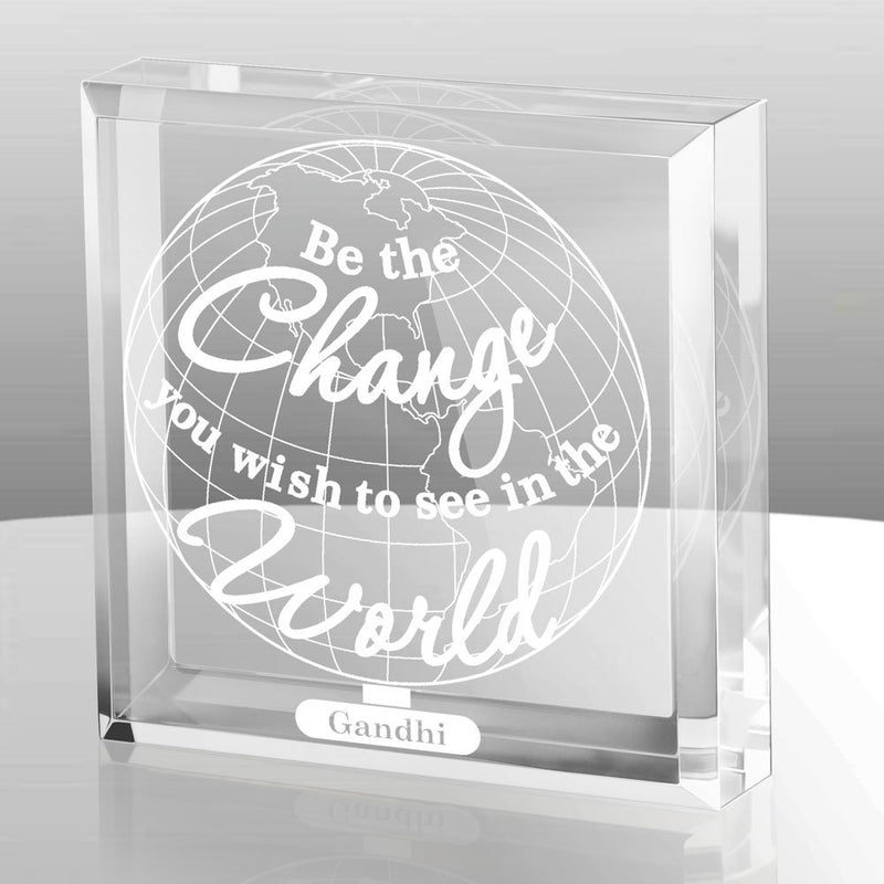 Australia Kate Posh - Be The Change You Wish to See in the World Engraved Keepsake and Paperweight - Graduation Gifts - Motivational Quote - Inspirational Quote - Mahatma Gandhi Quote