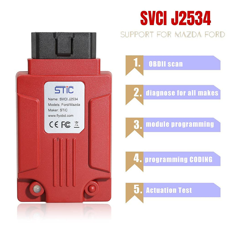 VXDIAG SVCI J2534 Diagnostic Interface Supports SAE J1850 Compatible for Ford Mazda Scan Tool
