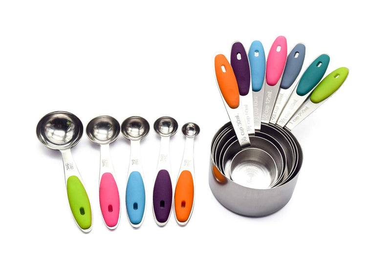 Australia Measuring Cups and Spoons Set Stainless Steel of 12 for Dry and Liquid Ingredients Includes Metal 7 Cup and 5 Spoon with Magnetic Measurement Conversion Chart