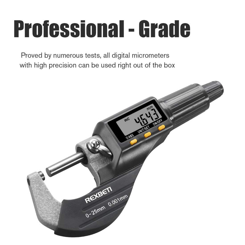 "Digital Micrometer, Professional Inch/Metric Thickness Measuring Tools 0.00005""/0.001 mm Resolution Thickness Gauge, Protective Case with Extra Battery - CocoonPower Australia"