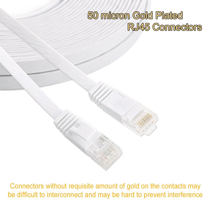 Australia Cat 6 Ethernet Cable 50 ft White - Flat Internet Network Lan patch Cords Australia