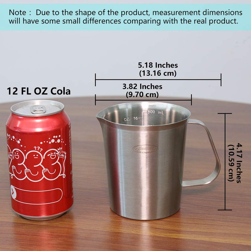 Australia Measuring Cup, [Upgraded, 3 Measurement Scales, Including Cup Scale, ML Scale, Ounce Scale], Newness Stainless Steel Measuring Cup with Marking with Handle, 16 Ounces (0.5 Liter, 2 Cup)