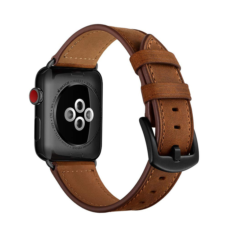 CINORS Leather Band Compatible with Apple Watch Vintage Classical Bands Dark Brown Replacement Strap for iWatch Series 4 3 2 1 Nike Space Black Grey 42mm 44mm Men, Brown