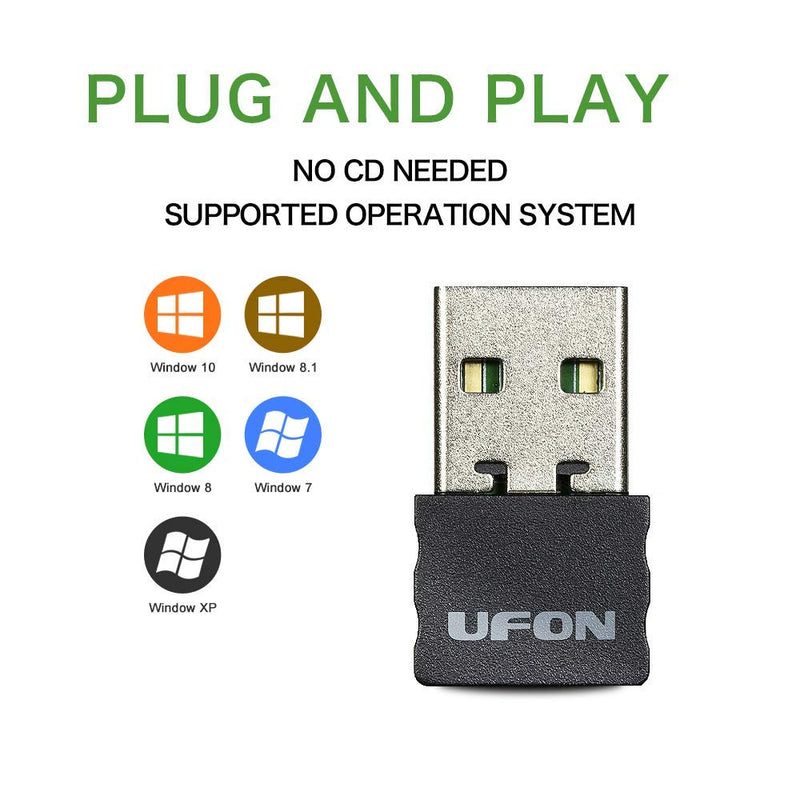 UFON WiFi Dongle,300mbps,Plug and Play,Only Supports Win 10,Win 8 1,Win  8,Win 7,Windows XP,WiFi Adapter,Wireless USB Adapter for Desktop,USB  Network