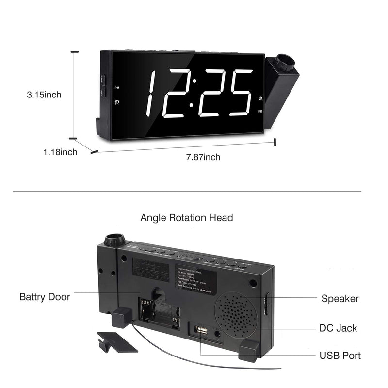 "Australia OnLyee Projection Ceiling Wall Clock, Alarm Clock, 7"" LED Digital Desk/Shelf Clock with Dimmer, USB Charging, AC Powered and Battery Backup for Bedroom, Kitchen, Kids"