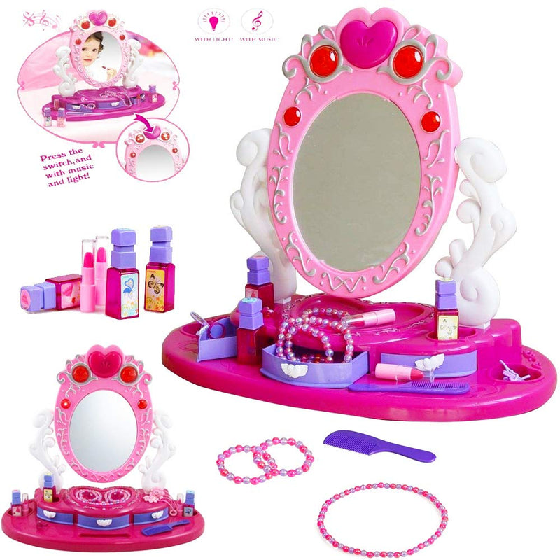 Australia Dresser Vanity Beauty Set | Pink Princess Pretend Play Dressing Table Top Set with Makeup Mirror, Jewelry and Accessories | Music and Lights for Little Girls