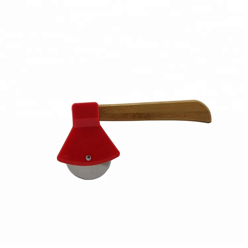 Thacher's Nook Axe Pizza Cutter with Bamboo Handle and Sharp Rotating Blade