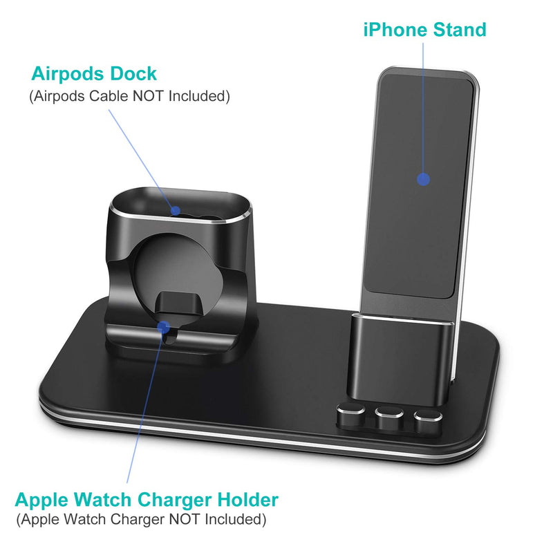 LYMMC Charging Stand for Apple Watch Aluminum Watch Charger Station Dock Holder Compatible for iWatch Series 4/3/2/1/ AirPods/iPhone X/XS/XS Max /8/ 8Plus / 7/7 Plus /6S /6S Plus (Black)