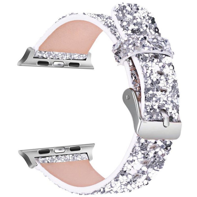 Seoaura Compatible Apple Watch Leather Band 38mm 40mm Woman, Bling Glitter Strap Replacement iWatch Series 4 3 2 1 Sport Edition (Silver, 38mm/40mm)