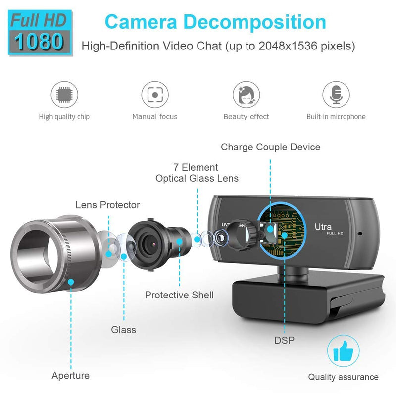 Australia Full HD Webcam 1080P/1536P, Widescreen Video Calling and Recording, Digital Web Camera with Microphone, Stream Cam for PC, Laptops and Desktop