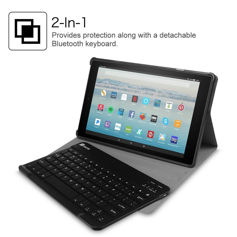 "Fintie Keyboard Case for All-New Fire HD 10 (7th Generation, 2017 Release), Slim Lightweight Stand Cover with Detachable Wireless Bluetooth Keyboard for Amazon Fire HD 10.1"" Tablet, Black"