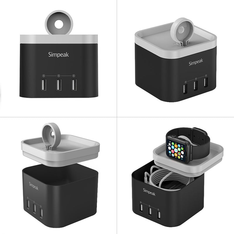 Australia Simpeak 4 Port USB Charger Stand Dock for iWatch 1/2/3/4 [Nightstand Mode] -with Phone Holder Charger Stand for iPhone 5/6/7/8/XS Max and Other Smartphone, Black