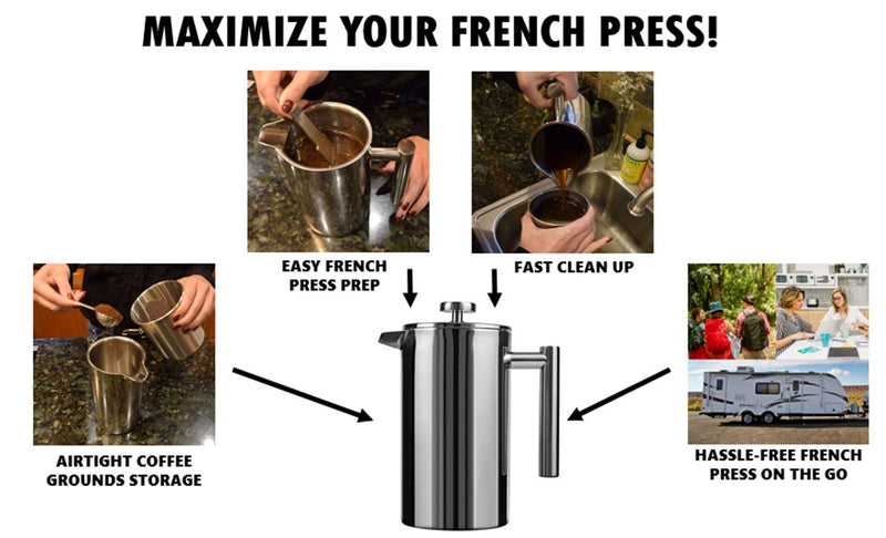 Quick Clean French Press Accessory Pack - Mobile Cleaning Strainer, Airtight Coffee Storage Canister, Heavy Duty Stirrer - For Home,Office,Camping,RV - Supports multiple French press sizes