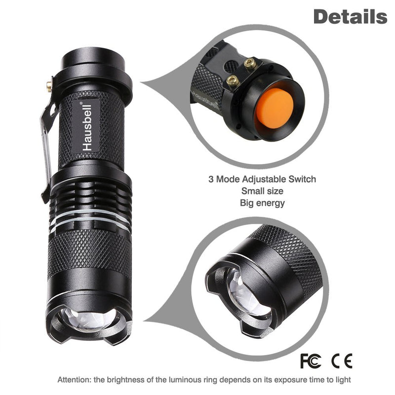 Australia Hausbell Flashlights, Handheld Flashlights, 7W Mini LED Flashlights, Tactical Flashlights, Zoomable, High Lumen, Water Resistant, 3 Light Modes for Camping, Hiking