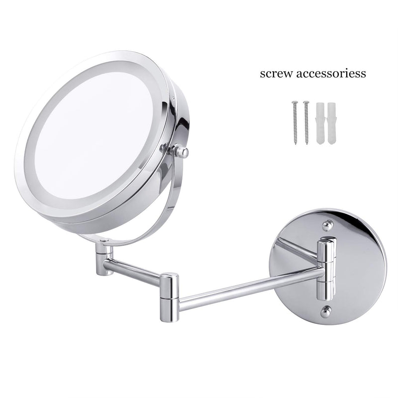 "LED Double-Sided Magnifying Makeup Mirror, 6.7"" Diameter 1X/5X Adjustable Magnification Led Cosmetic Mirror Wall Mounted, 360° Rotating Function, Lighted Vanity Mirror, Chrome Extendable Swivel Mirror"