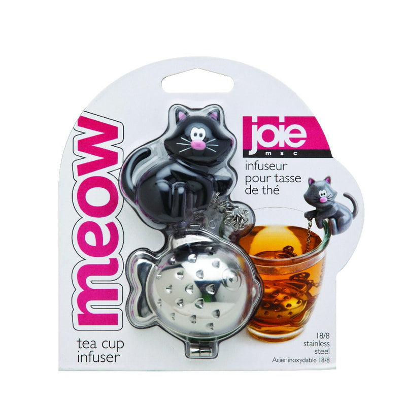 MSC International 10044 Joie Meow Cat Loose Tea Leaf Tea Strainer and Herbal Infuser, 18/8 Stainless Steel, Assorted Black and White