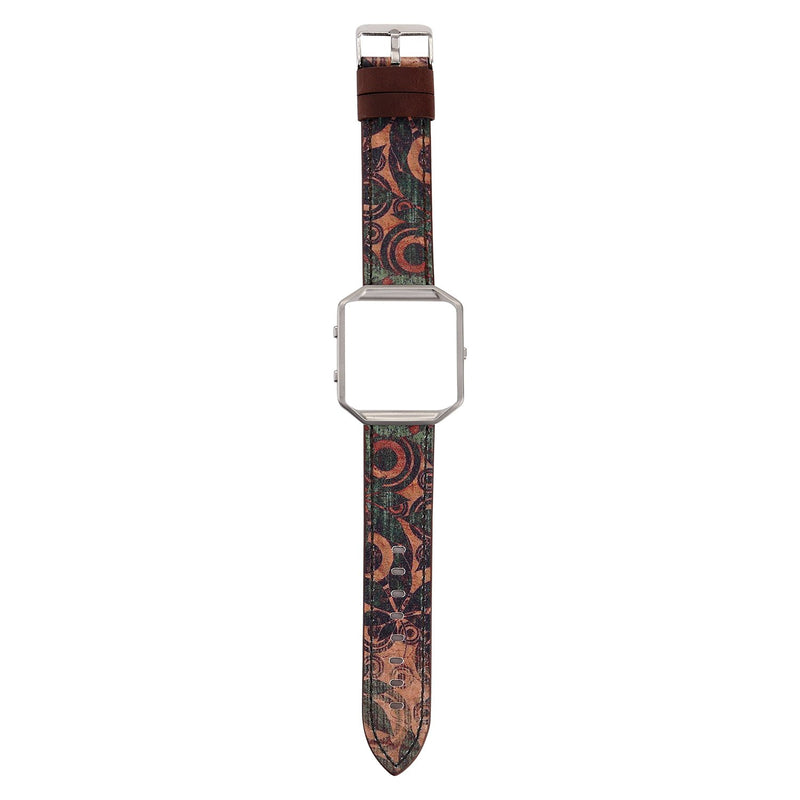 Women Flower Watch Strap for Fitbit Blaze Bands, Soft Leather Replacement Wristband Bracelet with Metal Frame for Fitbit Blaze Smart Fitness Watch