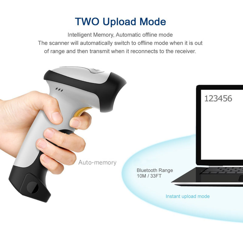 UPGRADED 2 in 1 1d Laser USB 2 0 wired + Wireles Bluetooth Barcode Sca