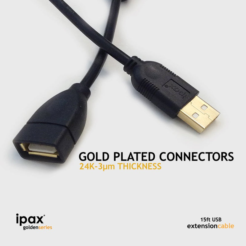 Australia 15Ft Extra Long IPAX Gold Plated USB 2.0 Extension Cable with Ferrite Core for Photo Printer Bluetooth Wireless Speaker Camera Headphone Portable Scanner USB Microphone and More … (Black)