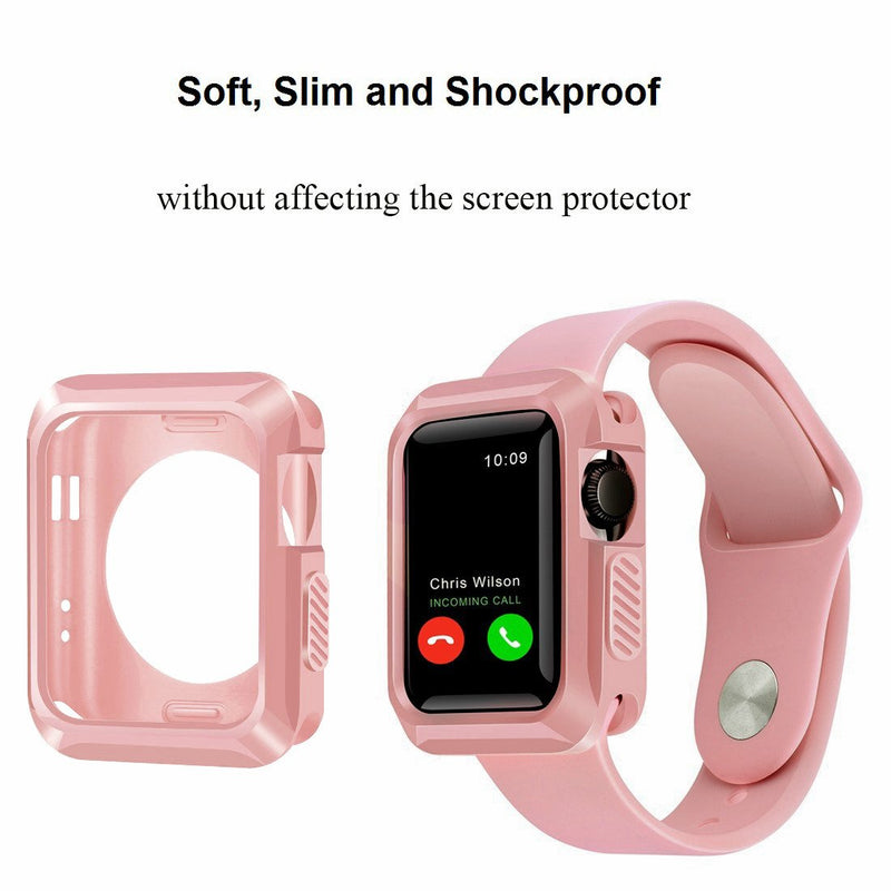Australia iiteeology Compatible Apple Watch Case, 38mm Universal Slim Rugged Protective TPU iWatch Case for Apple Watch Series 3 Series 2 Series 1 -Rose Gold
