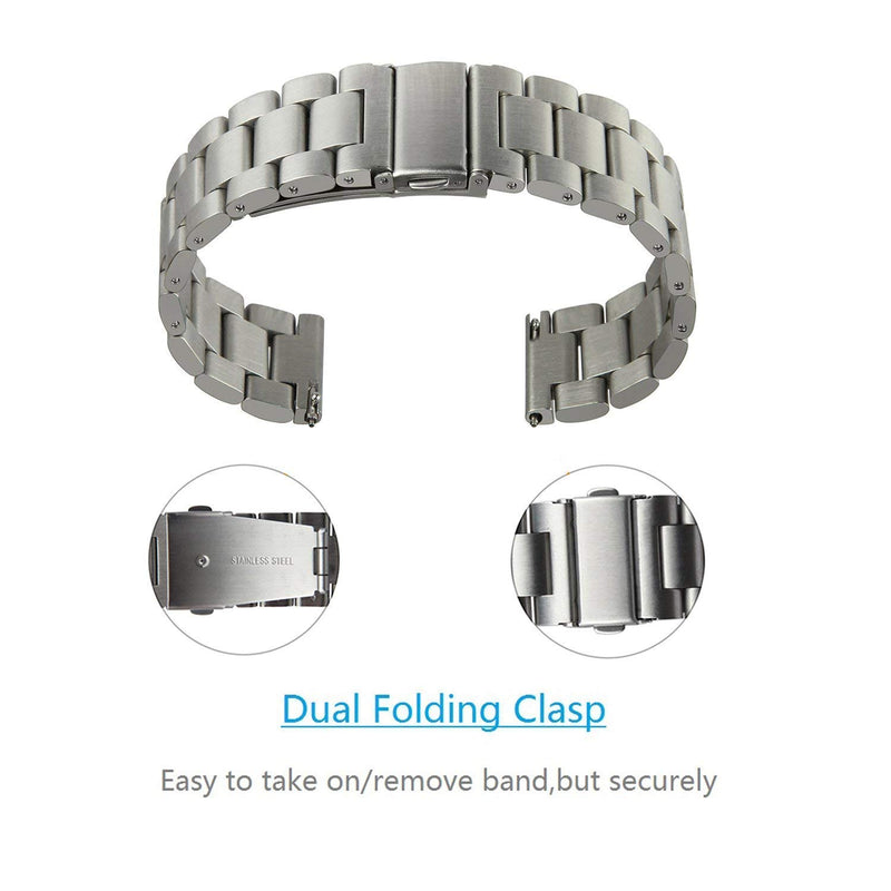 Kartice Compatible Samsung Galaxy Watch(46mm) Bands,22mm Galaxy Watch Band Solid Stainless Steel Metal Replacement Bracelet Strap fit Samsung Galaxy Watch SM-R800 Smart Watch(46mm).-Silver