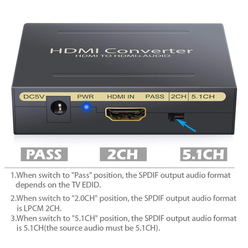ESYNIC 1080P HDMI Audio Extractor HDMI to HDMI + Optical TOSLINK SPDIF + Analog RCA L/R Stereo Audio Video Spiltter Adapter Converter for Blu-ray Player Xbox PS3 PS4