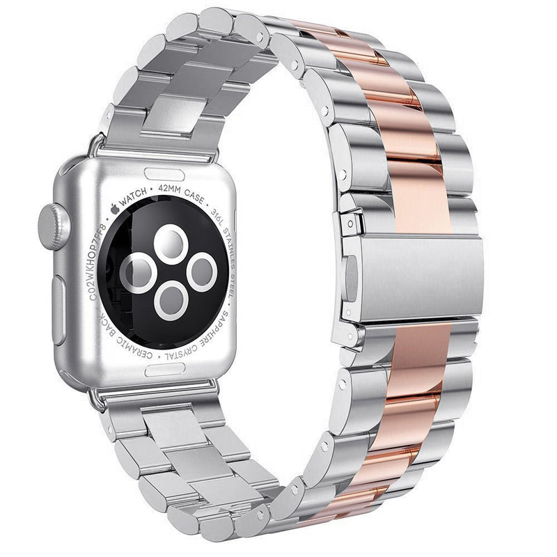 Australia SHJD Band Compatible with Apple Watch, 38mm Stainless Steel iWatch Wristband Metal Buckle Clasp Strap Replacement Link Bracelet for Apple Watch Series 3/2/1 Sports Edition (Silver/Rose Gold, 38mm)