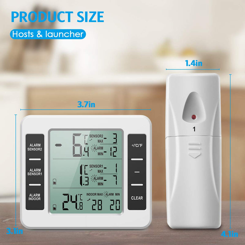 ?NEW VERSION?Indoor Outdoor Thermometer, Refrigerator Thermometer, Sensor Temperature Monitor with Audible Alarm Temperature Gauge for Freezer Kitchen Home (Battery not Included)