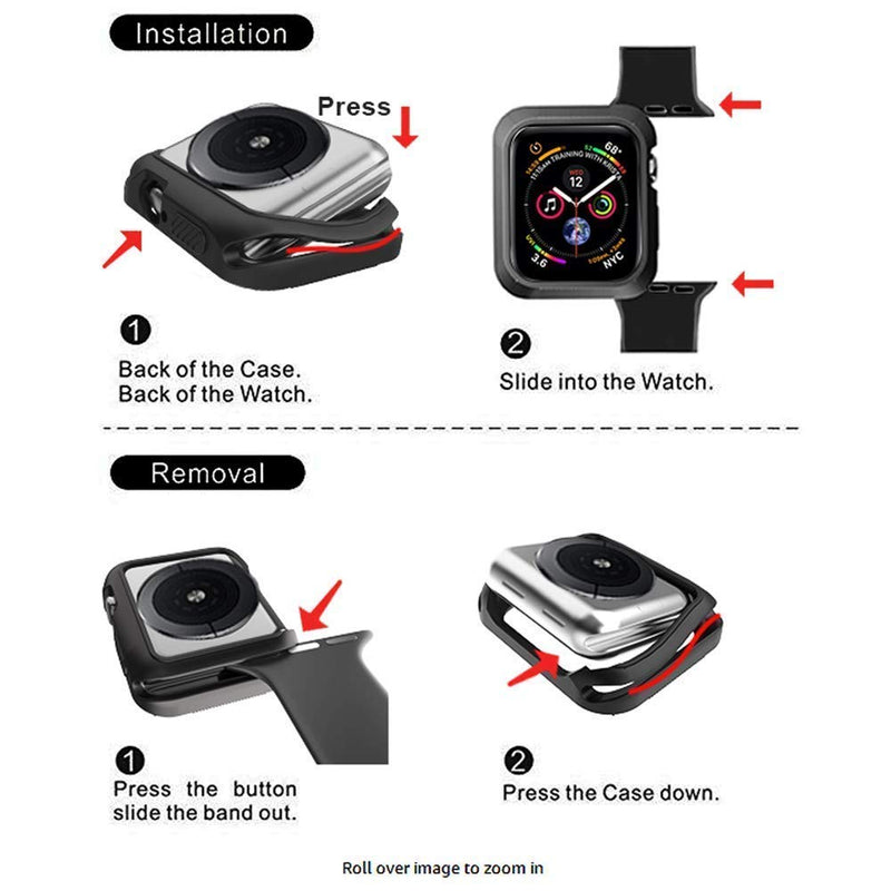 Australia XICHENK Compatible with Apple Watch Case 40mm/44mm, Shock-Proof and Shatter-Resistant Protective Case Replacement for Apple Watch Series 4 - Black