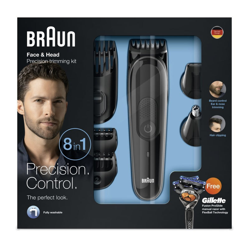 Braun MGK3060 Men's Beard Trimmer for Hair / Head Trimming, Grooming Kit with 4 Combs & Gillette Fusion Razor, 13 Length Settings for Ultimate Precision - CocoonPower Australia