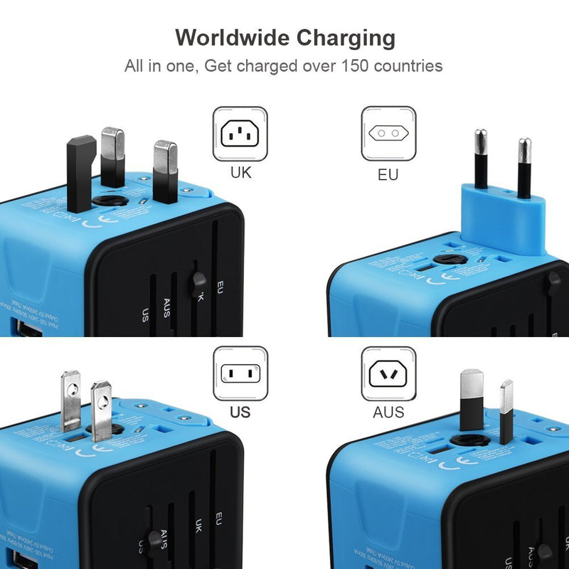 Australia Universal Travel Adapter, Iron-M All-in-one International Power Adapter with 2.4A Dual USB, European Adapter Travel Power Adapter Wall Charger for UK, EU, AU, Asia Covers 150+Countries (Blue)