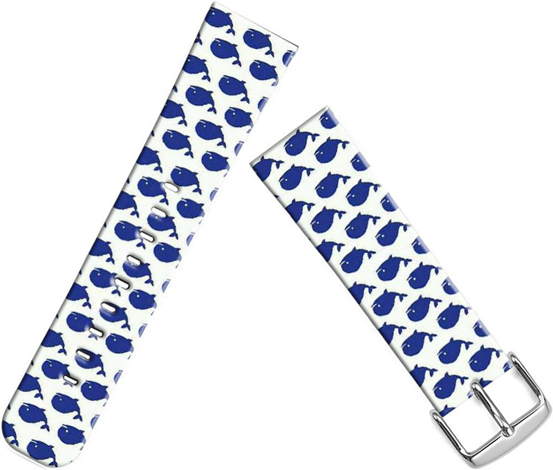 Bands Replacement for Iwatch 38mm/40mm & Cisland Leather Strap Compatible for Apple Watch Series 1/2/3/4 Sport & Edition Blue Whale Pattern Art