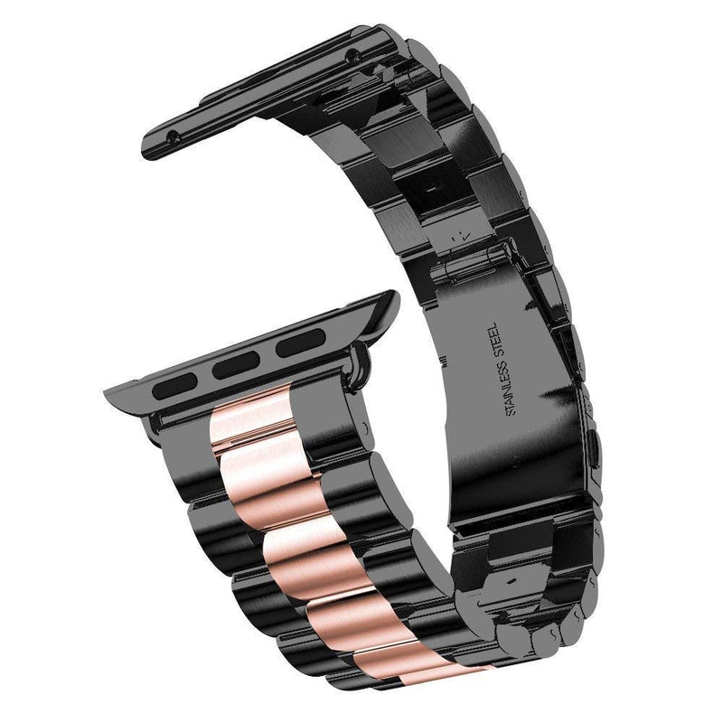 Aottom Compatible for Apple Watch Band 42mm/44mm iWatch Series 4 Band Stainless Steel Replacement Band Wrist Bands Metal Bracelet for iWatch Series 4 44mm / Series 3/2/1 42mm, Black/Rose Gold