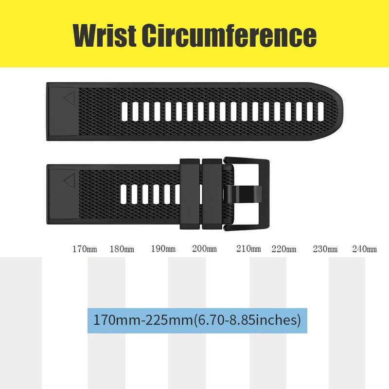 ANCOOL Compatible Forerunner 935 Band Easy Fit Mechanism Replacement Silicone Watch Bands for Garmin Forerunner 935/Fenix 5/Fenix 5plus/Approach S60 Smartwatch (Black&Slate)