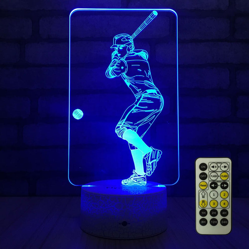 Australia FlyonSea Baseball lamp,Bedside Lamp 7 Colors Change + Remote Control with Timer Kids Night Light Optical Illusion Lamps for Kids Lamp As Gift Ideas for Boys or Kids