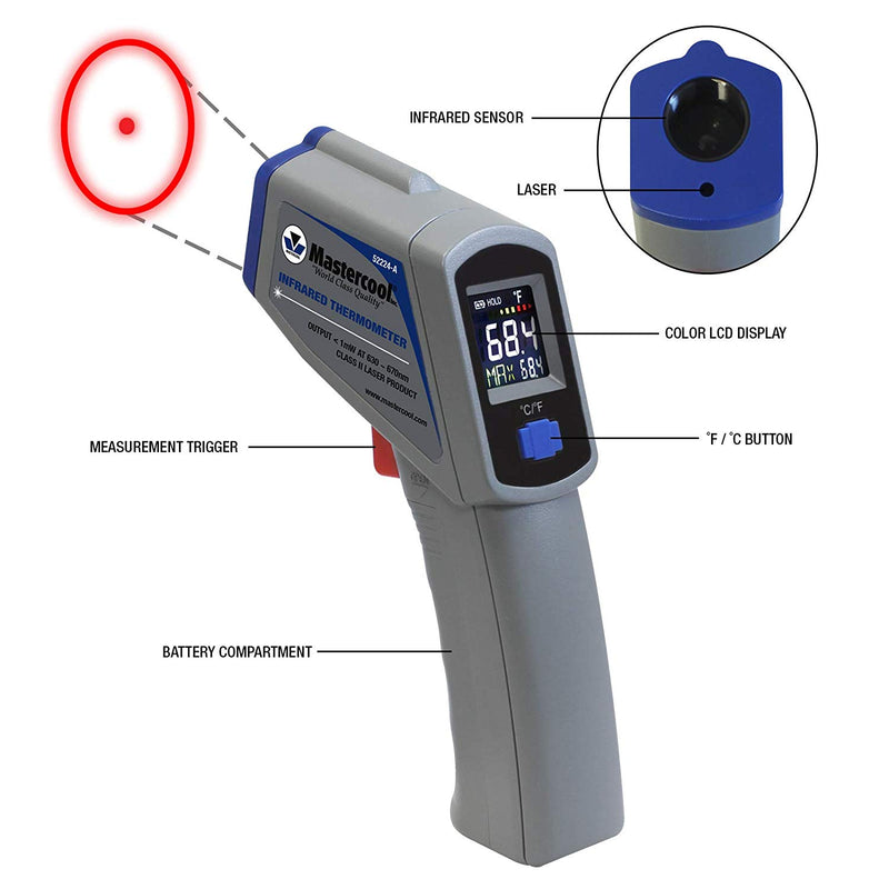 MASTERCOOL 52224-A Gray Infrared Thermometer with Laser