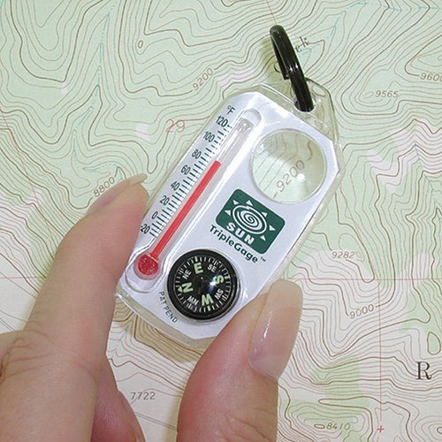 Australia Sun Company TripleGage - Zipper Pull Compass, Thermometer, and Magnifying Glass