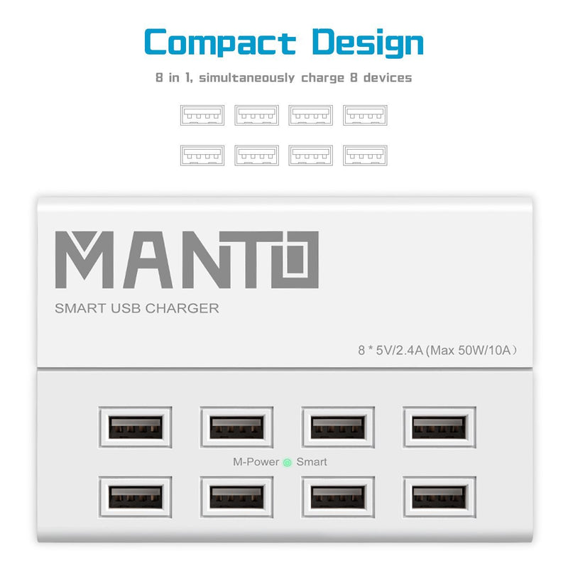 Manto USB Charger Station 50W 8-Port Fast Cell Phone Desktop Charging Dock with 4ft Wall Power Cord for Multi Devices - White