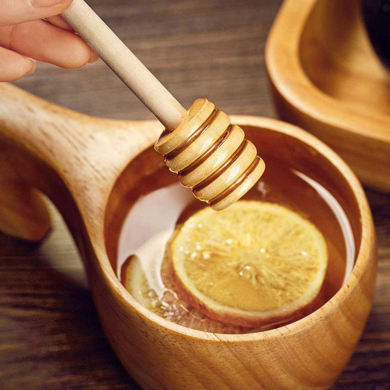 TANCUDER 30PCS Honey Spoons, Honey Sticks in Natural Wood Length 15CM and 8CM, Serve Honey for Dessert Coffee Tea (6 Large and 24 Mini)