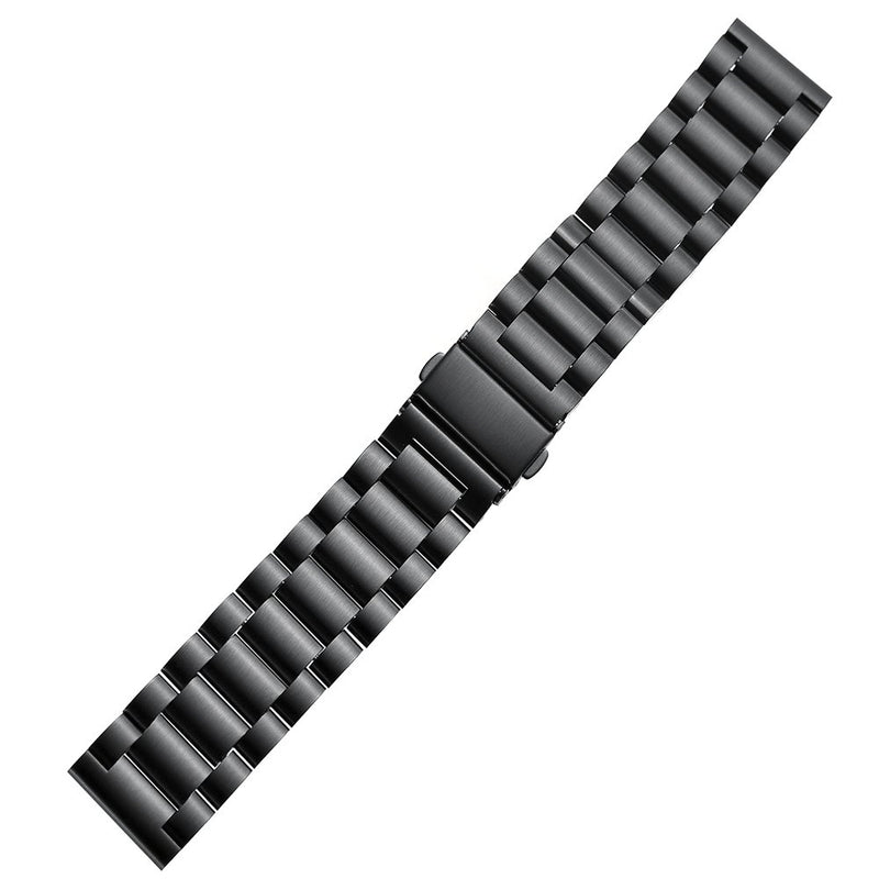 "Aresh Compatible Amazfit Bip Bands, 20mm Solid Stainless Steel Huami Amazfit Bip Smartwatch Band Strap Replacement Metal Wristbands (for Wrist Size:5.71""-8.19"") Black"