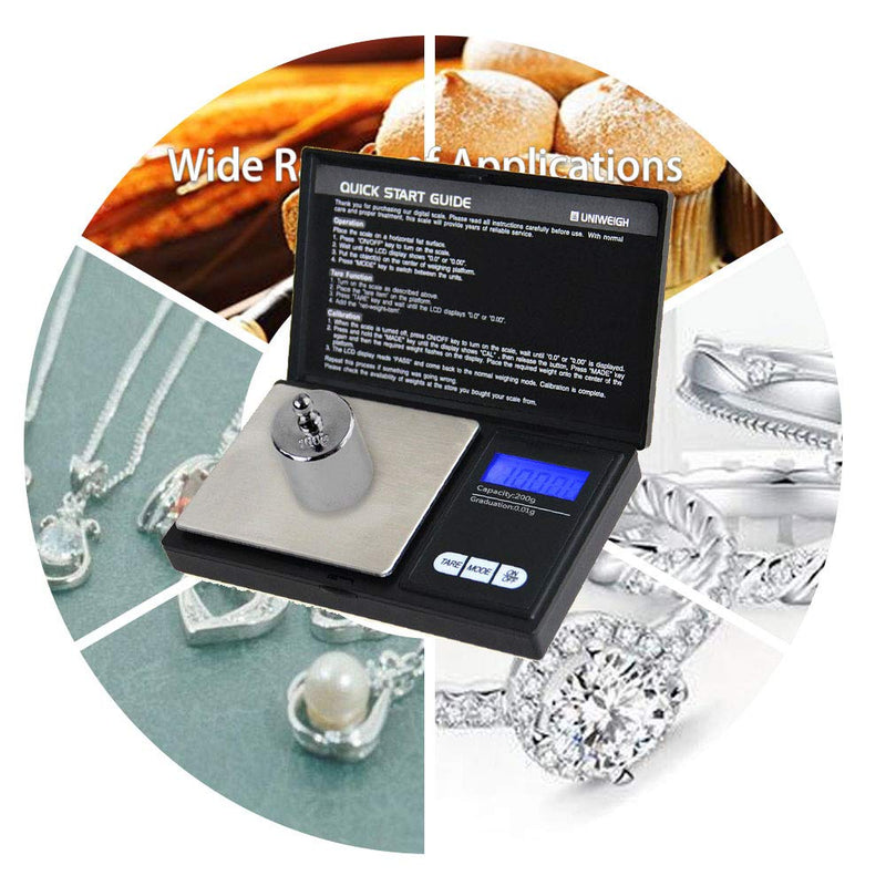 Australia UNIWEIGH Digital Pocket Scale with Back-lit LCD Display, Mini Digital Weighing Scale for Jewelry Coins Reload and Kitchen Scale (200g0.01g)