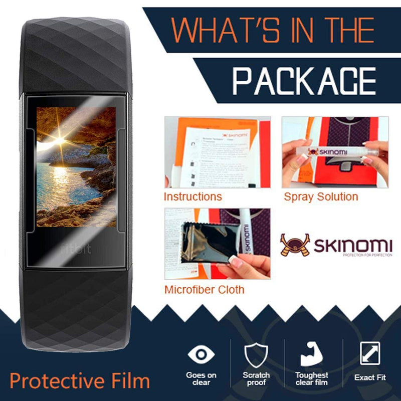 Skinomi Fitbit Charge 3 Screen Protector [6-Pack, Design 2], TechSkin Screen Protector Fitbit Charge 3 Clear...