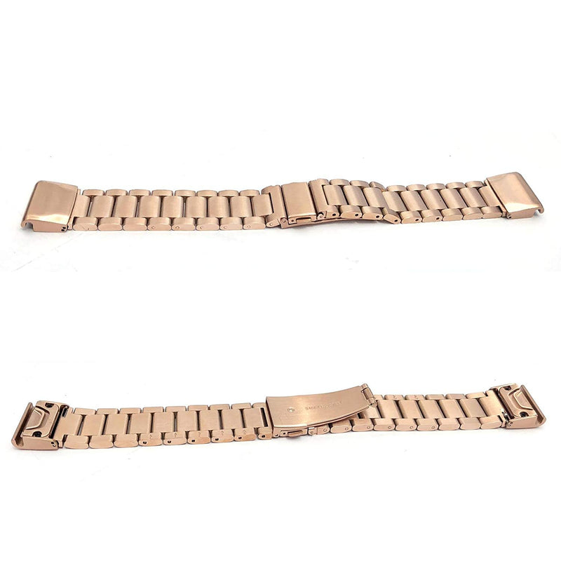 Fenix 5S Watch Band, YOOSIDE 20mm Easy Fit Stainless Steel Metal Bling-Bling Quick Release Watch Band Strap for Garmin Fenix 5S/5S Plus,Fit Wrist 4.7-8.2 inch (Metal Rose Gold)