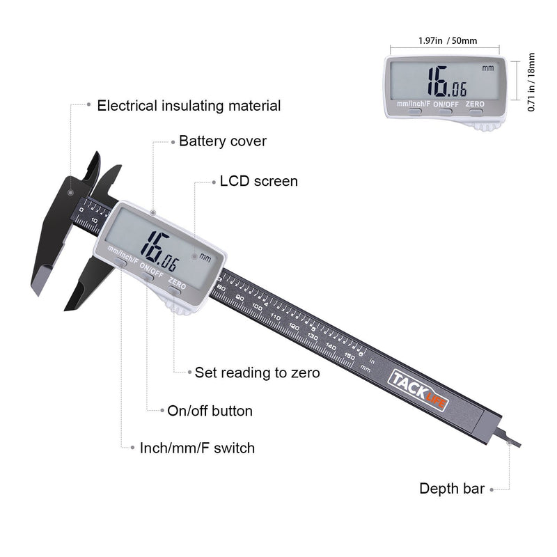 Australia Australia Tacklife DC01 Digital Caliper 6 Inch with 2 inches Wide Super Clear Display Inch/Fractions/Millimeter Conversion